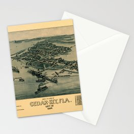 Map of Cedar Key 1884 Stationery Cards