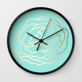 Flower in White Gold Sands on Tropical Sea Blue Wall Clock