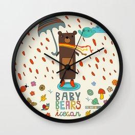 Baby Bears Icecar Wall Clock