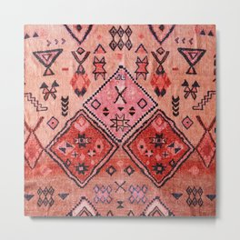 N52 - Pink & Orange Antique Oriental Traditional Moroccan Style Artwork Metal Print