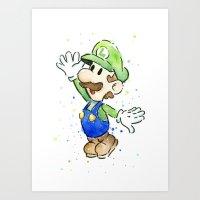 luigi Art Prints featuring Luigi Watercolor Art by Olechka