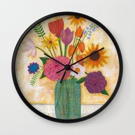 blue jar of flowers Wall Clock