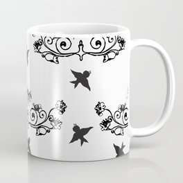 Tattoo like pattern with black birds Coffee Mug