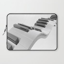 Keyboard of a piano waving on white background - 3D rendering Laptop Sleeve