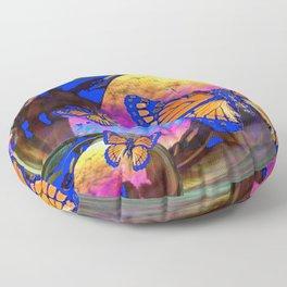 SURREAL BLUE  MONARCH BUTTERFLIES & IRIDESCENT BUBBLES  ART Floor Pillow