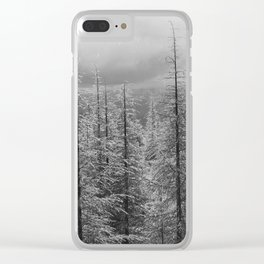 Snowing and sunny. At the same time at the mountains Clear iPhone Case