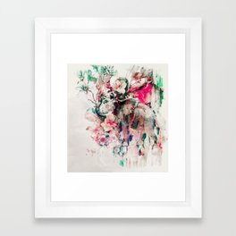 Watercolor Elephant and Flowers Framed Art Print