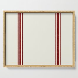 Red on Creme Grainsack wide stripes Serving Tray