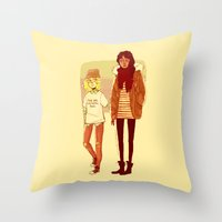 snk Throw Pillows featuring Ymir and Historia by rhymewithrachel