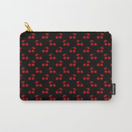 Red Cherries On Black Carry-All Pouch