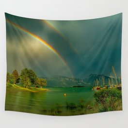 Rainbow at Tedesco Lake, Forgensee Bavaria, Germany color photograph / photography / photographs Wall Tapestry