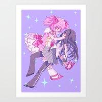 lesbian Art Prints featuring Mahou Lesbian by FEEB♥LEE