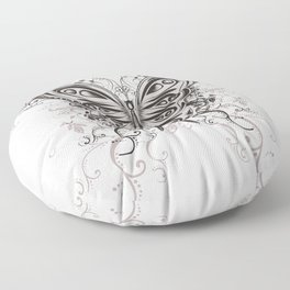 Beautiful filigree butterfly with flowers Floor Pillow