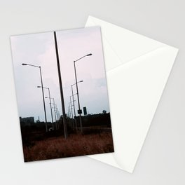 lampposts twilight sunset grass Stationery Cards