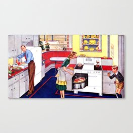 Family in the Kitchen Canvas Print