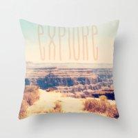 explore Throw Pillows featuring Explore by Bunhugger Design