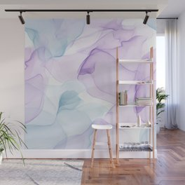 Purple Blush and Blue Flowing Abstract Painting Wall Mural