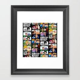 Faces of Who (Black) Framed Art Print