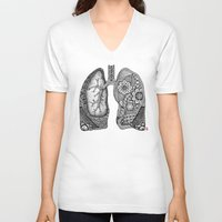 lungs V-neck T-shirts featuring Lungs by ericajc