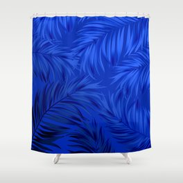 Palm Tree Fronds Brilliant Blue on Blue Hawaii Tropical Décor Shower Curtain