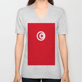 flag of tunisia -tunisie, tunisian,tunis,Maghreb. Unisex V-Neck