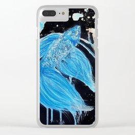Blue Splatter Drip Betta Clear iPhone Case
