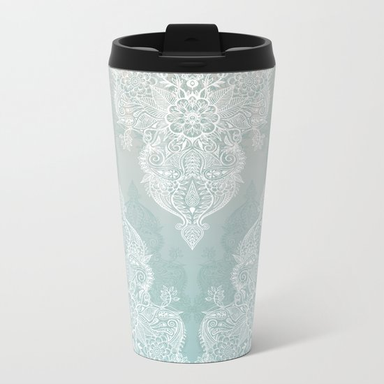 Lace & Shadows - soft sage grey & white Moroccan doodle Metal Travel Mug