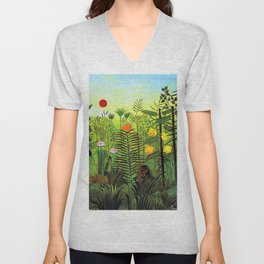 Exotic Jungle Landscape with Lion and Lioness by Henri Rousseau Unisex V-Neck