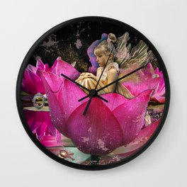 Fairy in a lotus Wall Clock