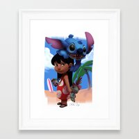 lilo and stitch Framed Art Prints featuring Lilo & Stitch by Archiri Usagi