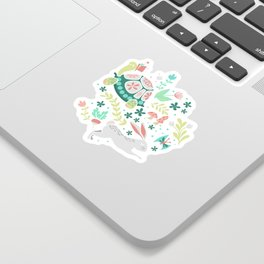 Spring Pattern of Bunnies with Turtles Sticker