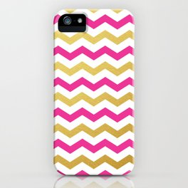 Pink and Gold Chevron Pattern iPhone Case