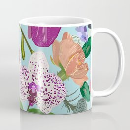 Orchid, succulent and roses colorful pattern Coffee Mug
