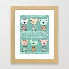Kokeshi Kitties with Teal Background Framed Art Print