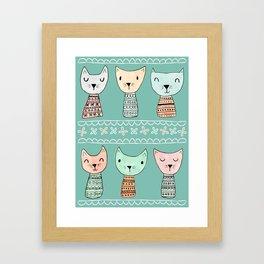 Kokeshi Kitties with Teal Background Framed Art Print