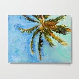 Akumal Palm Tree Painting Metal Print