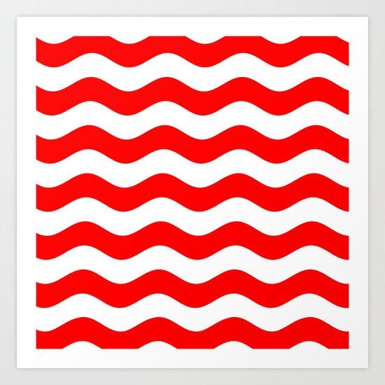 Wavy Stripes (Red/White) Art Print