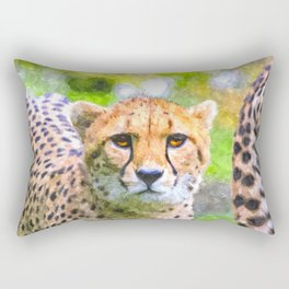 DIGITAL WATERCOLOR PAINTING OF CHEETAH Rectangular Pillow