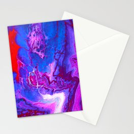 Trendy Purple Marble Acrylic Fluid Pour Stationery Cards