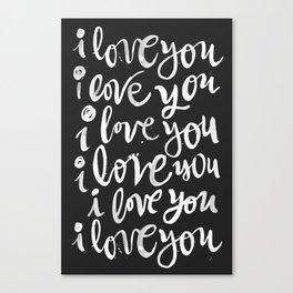 i love you | black Canvas Print