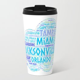 Cloud illustrated with cities of Florida State USA Travel Mug
