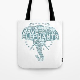 Save Elephants - Word Cloud Silhouette Tote Bag