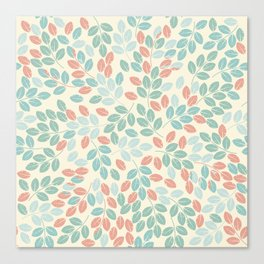 Elegant pattern with tender leaves Canvas Print