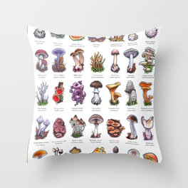 Devon Mushrooms Throw Pillow