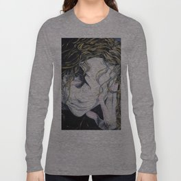 Oil paint on canvas painting of a woman behind a blank mask with a pained eye Long Sleeve T-shirt