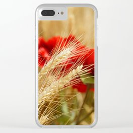 Field of golden wheat with red poppy flowers Clear iPhone Case