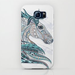 Blue Grey Ethnic Horse iPhone Case