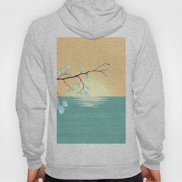 Delicate Asian Inspired Image of Pastel Sky and Lake with Silver Leaves on Branch Hoody