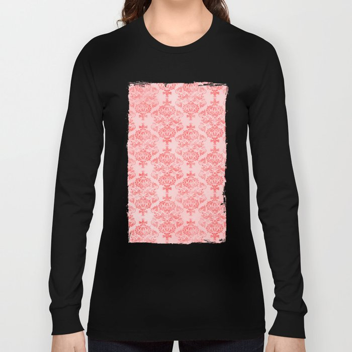 Vintage Retro Damask Watercolor Pattern Pastel Pink Long Sleeve T-shirt