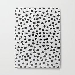 watercolor black polka dots Metal Print